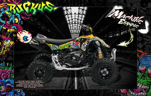 CAN-AM DS250 AND DS450 GRAPHICS WRAP DECAL KIT 'RUCKUS' WITH CUSTOM COLOR CHOICE - Darkside Studio Arts LLC.