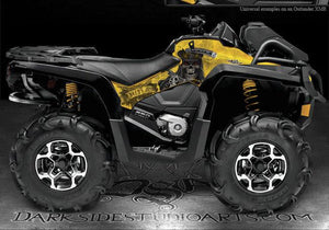 "CAN-AM 2013 OUTLANDER XMR & MAX SIDE PANEL PARTIAL GRAPHICS KIT ""THE OUTLAW"" YLW - Darkside Studio Arts LLC."