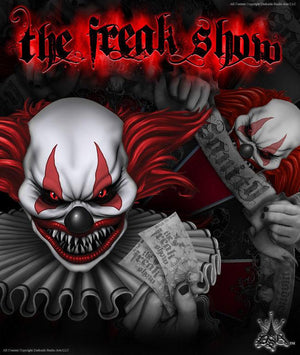 "YAMAHA RAPTOR 250 GRAPHICS DESIGN FOR BLACK PLASTICS PARTS ""THE FREAK SHOW"" - Darkside Studio Arts LLC."