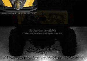 "CAN-AM COMMANDER 800 1000 XT HOOD GRAPHICS KIT ""THE OUTLAW"" FOR BLACK PARTS - Darkside Studio Arts LLC."