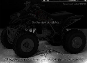 "HONDA TRX250EX 2001-2005 ""THE JESTERS GRIN"" GRAPHICS KIT FOR BLACK PARTS 02 03 - Darkside Studio Arts LLC."