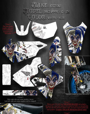 "SUZUKI 2000-2020 DRZ400 DRZ400SM GRAPHICS KIT ""THE JESTERS GRIN"" WHITE & BLUE - Darkside Studio Arts LLC."