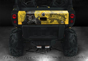 "CAN-AM COMMANDER  HOOD & TAILGATE GRAPHICS KIT ""THE OUTLAW "" ALL YELLOW FOR XT - Darkside Studio Arts LLC."