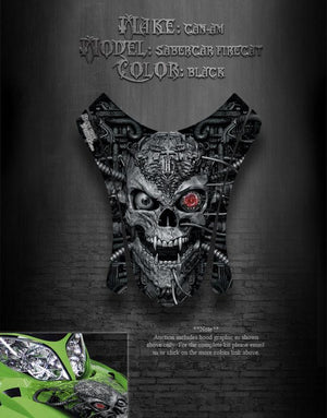 "ARCTIC CAT FIRECAT SABERCAT F5 F6 F7 2003-2006 HOOD GRAPHICS ""MACHINEHEAD"" BLACK - Darkside Studio Arts LLC."