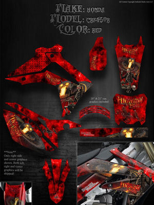 "HONDA 2013 CRF450R GRAPHICS ""HIGHWAY TO HELL"" DESIGNED FOR RED PLASTICS PARTS - Darkside Studio Arts LLC."