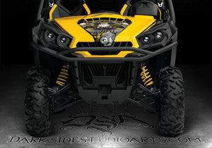 "CAN-AM COMMANDER ""THE FREAK SHOW"" 800 1000 XT HOOD GRAPHICS KIT FOR BLACK PARTS - Darkside Studio Arts LLC."