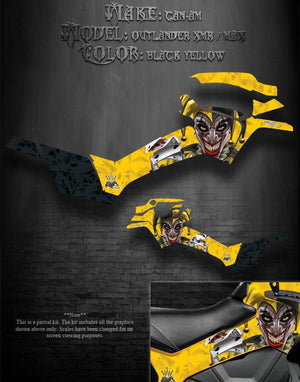"CAN-AM 2013 OUTLANDER XMR & MAX ""THE JESTERS GRIN"" YELLOW SIDE PANEL GRAPHICS - Darkside Studio Arts LLC."