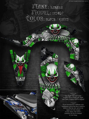 "YAMAHA YFZ450 GREEN ACCENT DECALS GRAPHICS FOR BLACK PLASTICS ""THE FREAK SHOW"" - Darkside Studio Arts LLC."