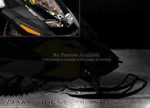 "SKI-DOO 2009-14 REV XR 1200 ""THE JESTERS GRIN"" YELLOW HOOD GRAPHICS DECALS KIT - Darkside Studio Arts LLC."