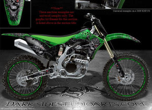 "KAWASAKI 2006-2008 KX250F ""MACHINEHEAD"" GRAPHICS FOR GREEN BLACK PLASTICS PARTS - Darkside Studio Arts LLC."