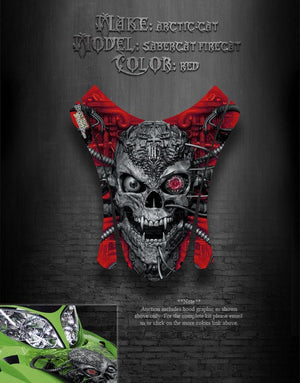 "ARCTIC CAT F7 2003-06 RED HOOD GRAPHICS DECALS SABERCAT ""MACHINEHEAD"" F5 F6 - Darkside Studio Arts LLC."
