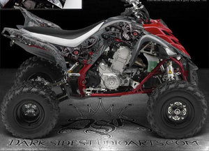 "YAMAHA 2006-2012 RAPTOR 700 ""MACHINEHEAD"" DECALS GRAPHICS FOR BLACK PLASTICS - Darkside Studio Arts LLC."
