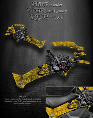 "CAN-AM OUTLANDER 2012-2014 ""MACHINEHEAD"" PARTIAL SIDE PANEL YELLOW GRAPHICS KIT - Darkside Studio Arts LLC."