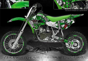 "KAWASAKI 00-13 KX65 GRAPHICS DECALS 4 GREEN PARTS ""THE FREAK SHOW"" 02-09 KLX110 - Darkside Studio Arts LLC."