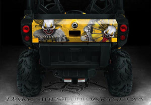 "CAN-AM COMMANDER ""THE FREAK SHOW"" 800 1000 XT HOOD & TAILGATE GRAPHICS BLK / YLW - Darkside Studio Arts LLC."