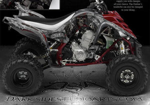 "YAMAHA RAPTOR 700 GRAPHICS ""THE OUTLAW"" DECALS WRAP WHITE 2006-2012 700R - Darkside Studio Arts LLC."