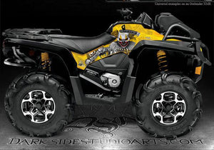 "CAN-AM 2013-2014 OUTLANDER XMR & MAX SIDE PANEL GRAPHICS ""THE FREAK SHOW"" YELLOW - Darkside Studio Arts LLC."