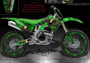 "KAWASAKI 2009-2012 KX250F KXF250 ""HIGHWAY TO HELL"" GRAPHICS FOR GREEN PLASTICS - Darkside Studio Arts LLC."