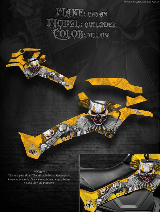 "CAN-AM 2013-2014 OUTLANDER XMR /& MAX SIDE PANEL GRAPHICS /""THE FREAK SHOW/"" YELLOW"