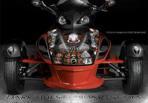 "CAN-AM SPYDER BLACK HOOD GRAPHICS KIT ORANGE ACCENTS ""THE FREAK SHOW"" WRAP DECAL - Darkside Studio Arts LLC."