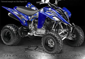 "YAMAHA RAPTOR 350 GRAPHICS DECALS ""THE FREAK SHOW"" DESIGNED FOR WHITE PLASTICS - Darkside Studio Arts LLC."