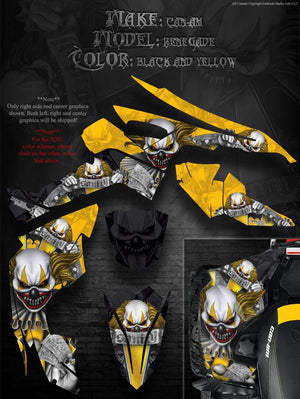 "CAN-AM RENEGADE ""THE FREAK SHOW"" GRAPHICS KIT FOR YELLOW PLASTICS PARTS DECALS - Darkside Studio Arts LLC."