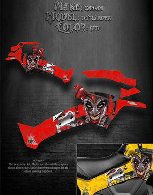 "CAN-AM OUTLANDER 2012-2014 ""THE JESTERS GRIN"" GRAPHICS KIT FOR SIDE PANELS RED - Darkside Studio Arts LLC."