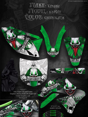 "KAWASAKI 2009-11 KXF450 KX450F GRAPHICS ""THE FREAK SHOW"" 4 GREEN PLASTICS PARTS - Darkside Studio Arts LLC."
