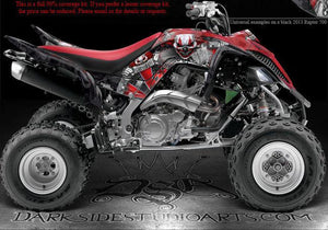 "YAMAHA RAPTOR 700 2013-2020 ""THE FREAK SHOW"" GRAPHICS FOR BLACK PLASTICS KIT SET - Darkside Studio Arts LLC."