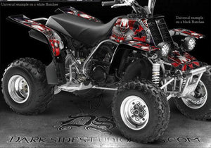 "YAMAHA BANSHEE GRAPHICS RED ACCENT FOR BLACK PARTS ""THE FREAK SHOW"" DECALS - Darkside Studio Arts LLC."