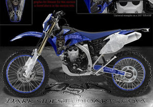 "YAMAHA 2012-2013 WR250 WR450 DECAL SET ""THE OUTLAW"" GRAPHICS FOR BLUE PLASTICS - Darkside Studio Arts LLC."