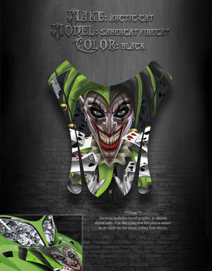 "ARCTIC CAT F7 03-06 BLACK HOOD GRAPHICS DECALS ""THE JESTERS GRIN"" F5 F6 FIRECAT - Darkside Studio Arts LLC."
