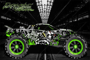TRAXXAS E-REVO / E-REVO 2.0 / RUSTLER / RUSTLER 4x4 GRAPHICS WRAP 'WAR MACHINE' SKIN - Darkside Studio Arts LLC.