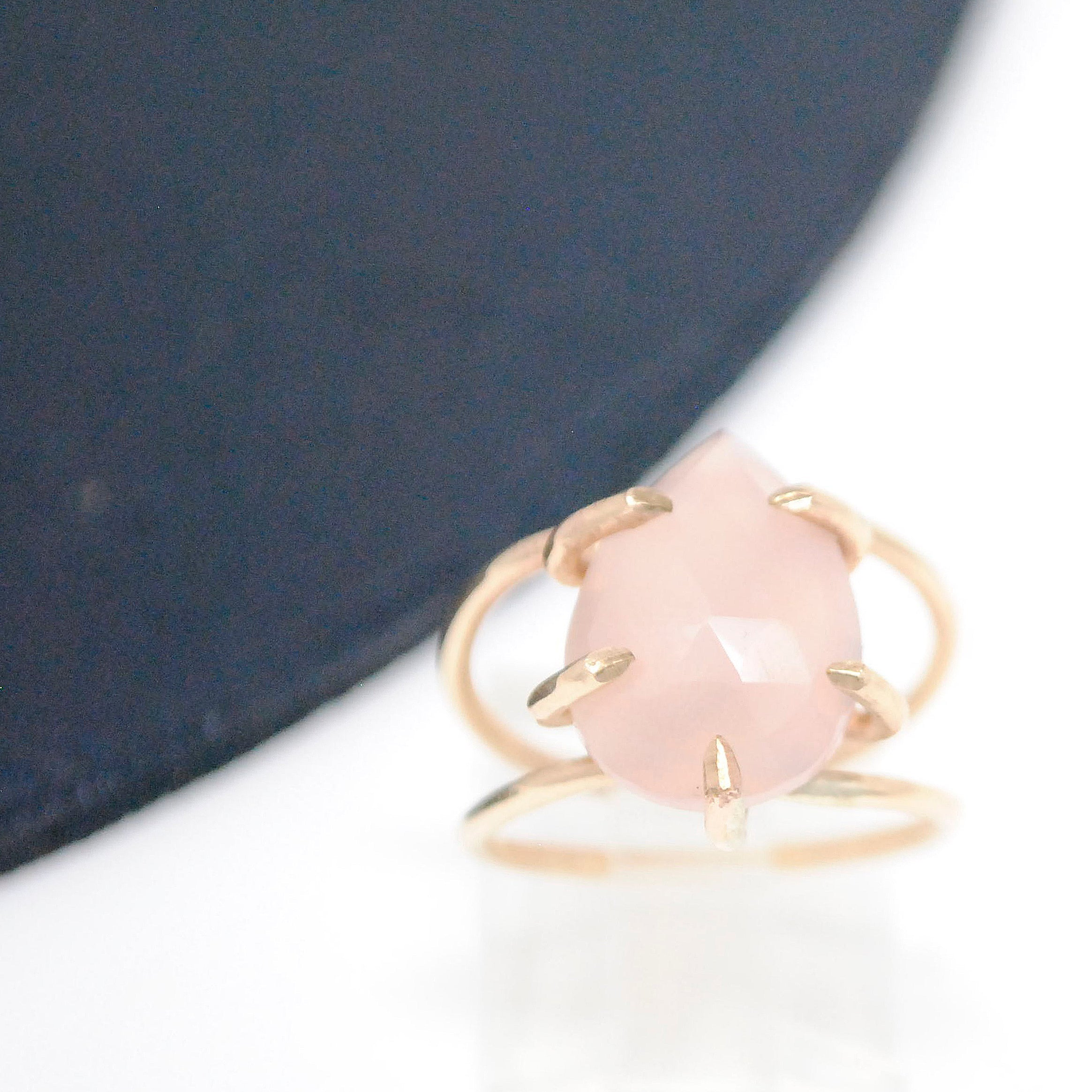 Daedal Gold Filled Rose Quartz Prong Set Ring