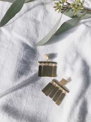 Daedal Brass Fringe Statement Earrings