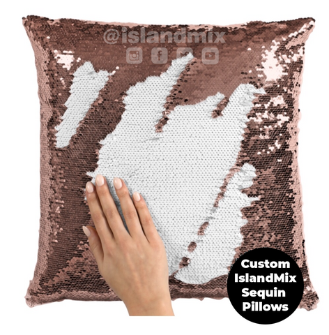 Saint Lucia decorative sequin pillow