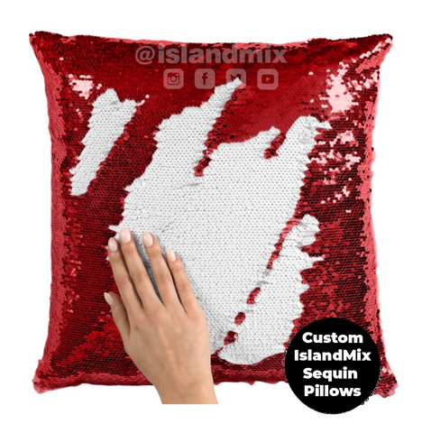 Image of Puerto Rico decorative sequin pillow