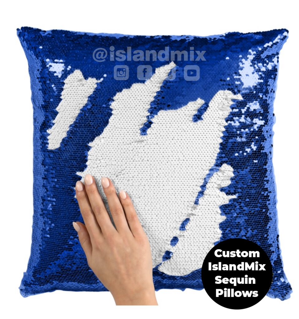 Dominican Republic sequin pillow