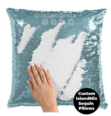 Image of Barbados decorative sequin pillow