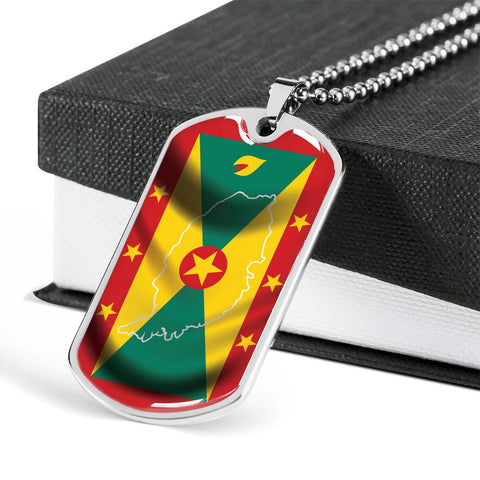 Grenada Country Outline - Dog Tag Jewelry