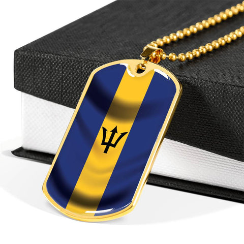 Image of Barbados Flag - Dog Tag Jewelry