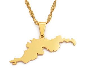 British Virgin Islands Tortola BVI Map Pendant Chain Necklaces - Gold Color Jewelry