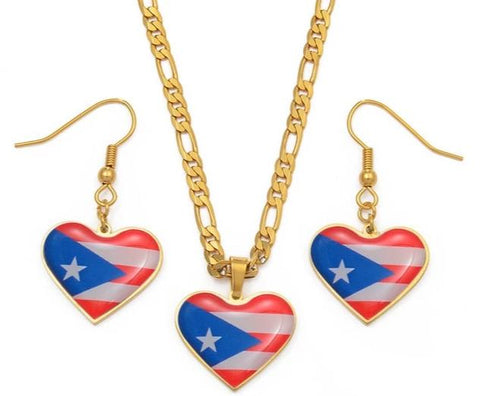 Image of A Flag Pendant Necklace and Earring set - Gold Color Jewelry
