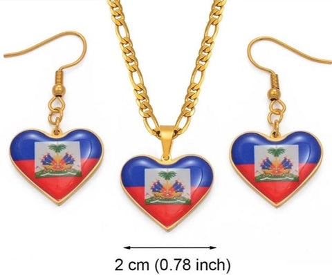 A Flag Pendant Necklace and Earring set - Gold Color Jewelry