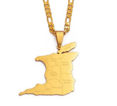 Trinidad & Tobago Map City Name Pendant Necklace - Gold Color Jewelry