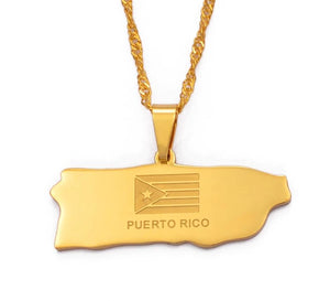 Puerto Rico Map Pendant and Thin necklaces - Gold Color Jewelry