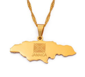 Jamaica Map and Flag Pendant Necklace - Gold Color Jewelry
