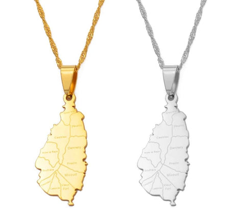 Saint Lucia Map City Necklace - Gold/Silver Color Jewelry