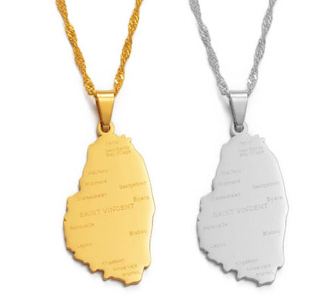 Saint Vincent Map With City Name Pendant Thin Necklaces - Gold Color Jewelry
