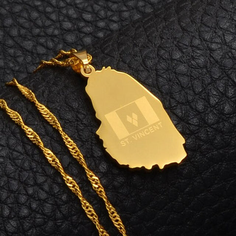 Saint Vincent Map and Flag Pendant Necklace - Gold Color Jewelry